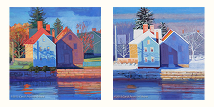 oil paintings - Houses along the Piscataqua in Fall and Winter