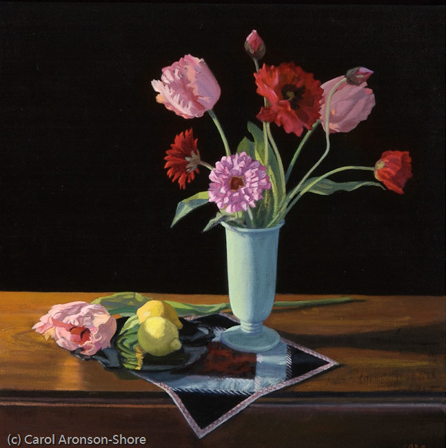 still life painting - Poppies, Tulips & Lemons