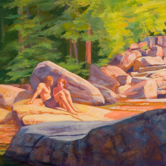figurative painting - Couple Near the Falls