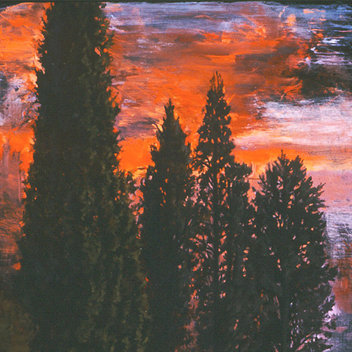 Italia landscape paintings - Cypress Sunset