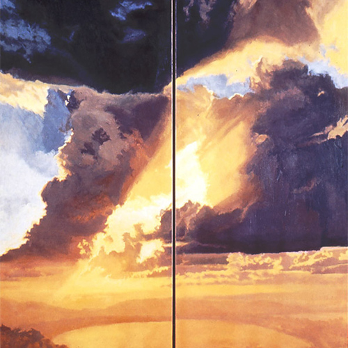 tropical landscape paintings - I Dream Ephemeral Fire (Diptych)