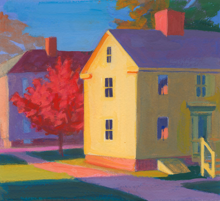 architectural landscape painting - Strawbery Banke House in Fall