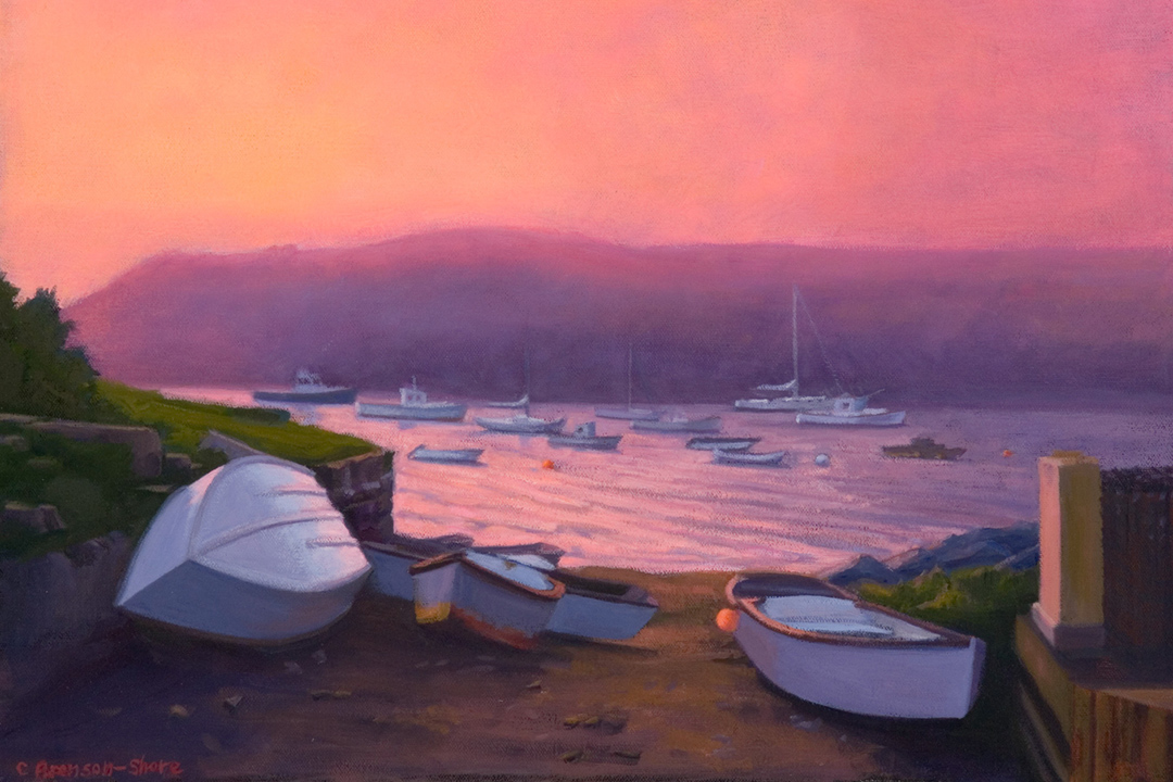 oil on canvas - Harbor Boats at Sunset