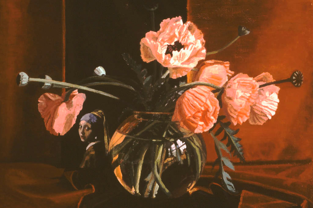 oil painting - Poppies and the Pearl Earring