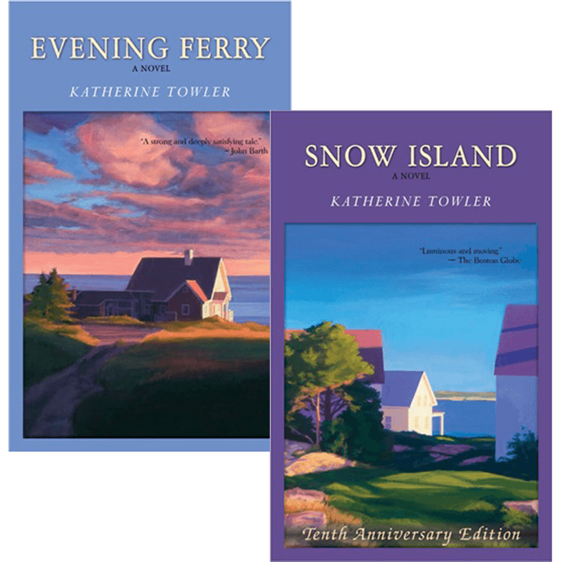"book cover art - ""Evening Ferry"" and ""Snow Island"""