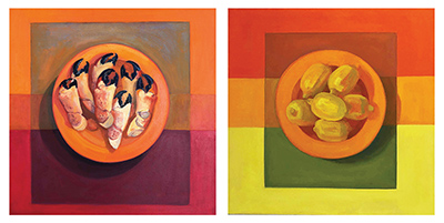 'complementary palatte' - food items on plate abstract