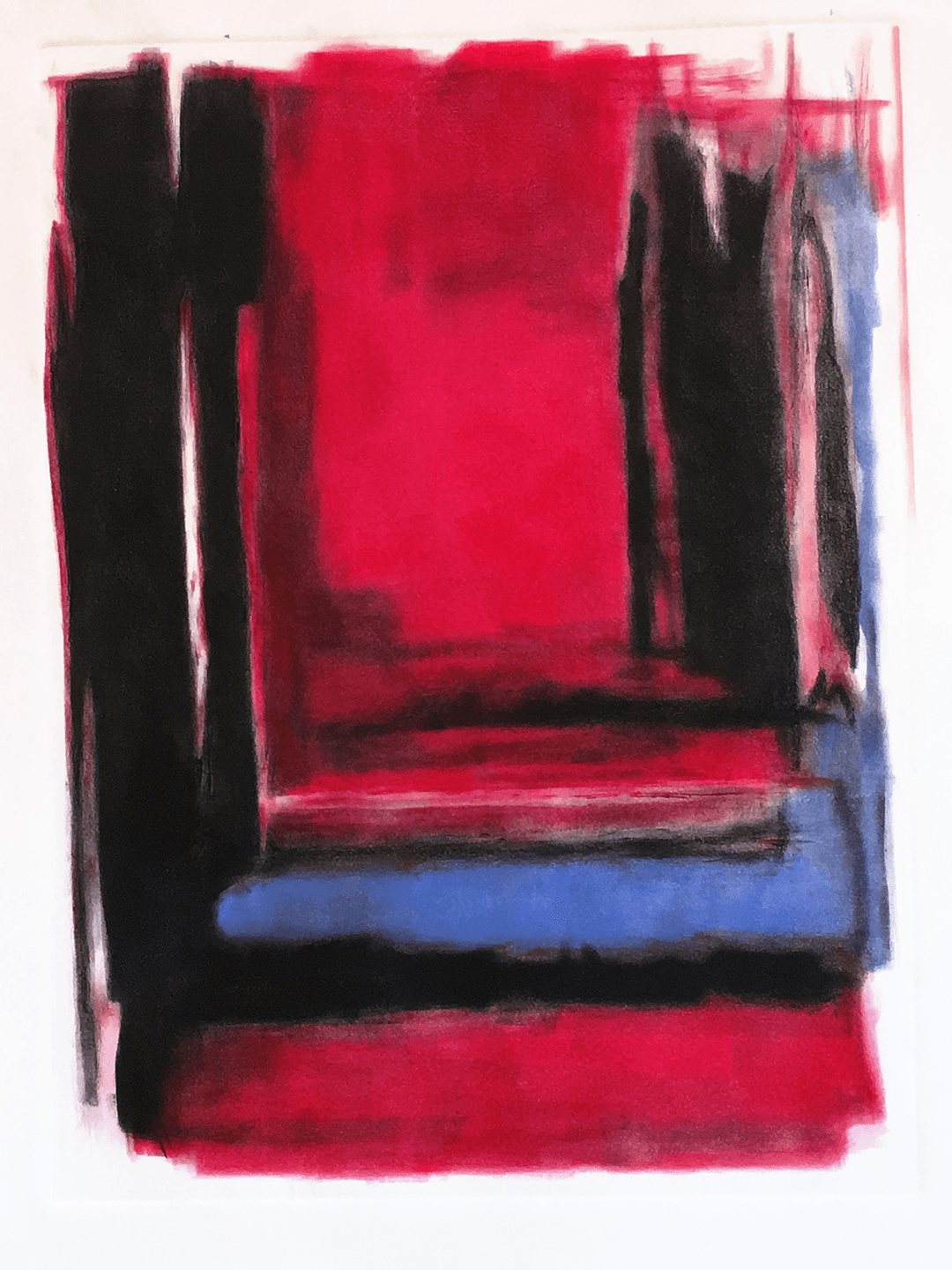 Painted Monotype - Red Light Within